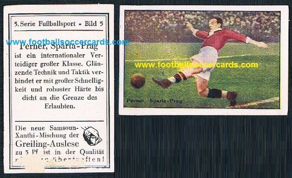 1926 Antonin Perner Sparta Praha Československo all-time great Czech player Greiling card